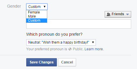 gender options